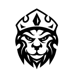 Head of a fierce crowned lion vector image vector image