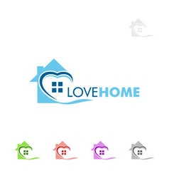 Real estate logo design with love and home vector image vector image