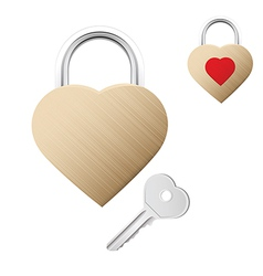 Realistic looking gold lock shaped as heart vector image vector image