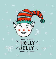santa claus kid cartoon elf helper working with vector image