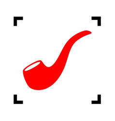 smoke pipe sign red icon inside black vector image