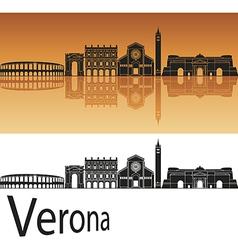 Verona skyline in orange background vector image vector image