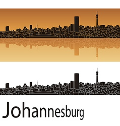 Johannesburg skyline in orange background vector image