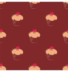 Tile cupcake pattern or seamless cake background vector image vector image