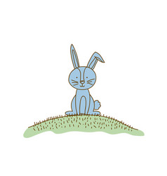 watercolor hand drawn silhouette of bunny sitting vector image vector image