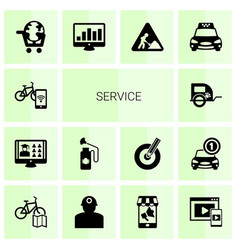 14 service filled icons set isolated on white vector