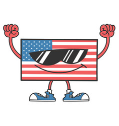 American flag character with sunglasses vector