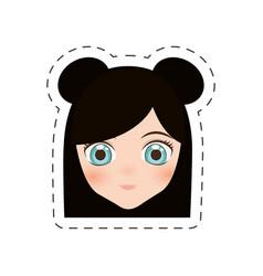 Anime face girl cartoon - cut line vector
