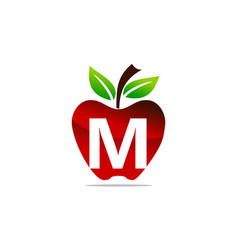Apple letter m logo design template vector