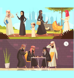 Arabs work family banners set vector