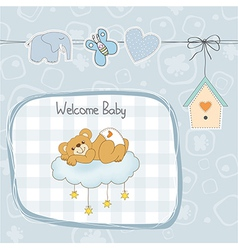 baby shower card with sleepy teddy bear vector image