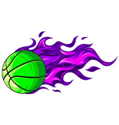 basketball balls with flames on a white vector image