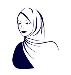 beautiful face arabic muslim woman in hijab vector image
