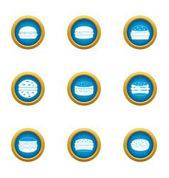 big sandwich icons set flat style vector image