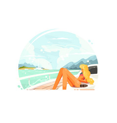 blond girl relaxing on yacht vector image