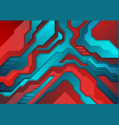 blue red abstract technology background vector image