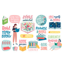 books letterings reading people and other vector image