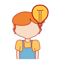 boy with bulb idea and hairstyle design vector image