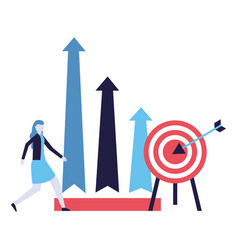 business woman target chart arrows vector image