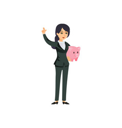 Businesswoman with piggy bank on white vector