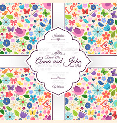 card with spring love seamless pattern vector image