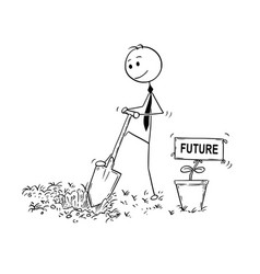 cartoon of businessman digging a hole for plant vector image