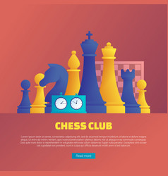 Chess club web banner template vector
