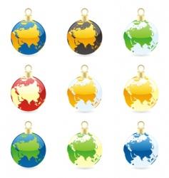Christmas bulb world globes vector