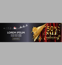 christmas sale 50 wide banner design for web vector image