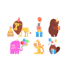 collection cute animals for happy birthday vector image