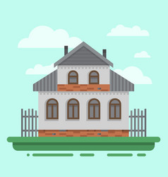 Country old gray house with fence vector