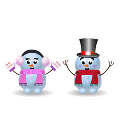 cute cartoon snowmen girl and boy on white vector image
