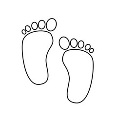cute footprints baby line style icon vector image