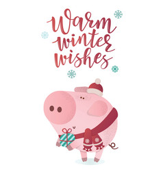 Cute piggy in a winter scarf with a present vector