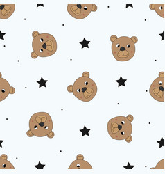 Cute seamless pattern with funny teddy bear vector