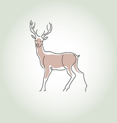 Deer in a minimal line style vector