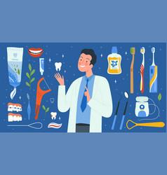 dental hygiene tools dentist accessories medical vector image
