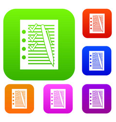 Document with plan and pen set collection vector