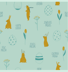 easter seamless pattern with rabbits and eggs vector image