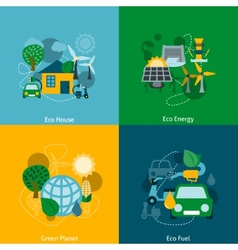 Eco energy flat icons composition vector image