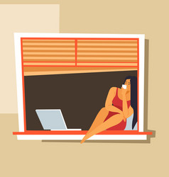female character sitting on windowsill with laptop vector image