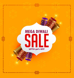 Festival sale background with diwali crackers vector