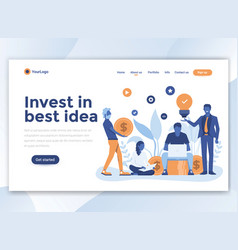 Flat modern design of wesite template - invest in vector