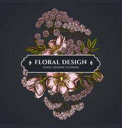 floral bouquet dark design with dog rose valerian vector image