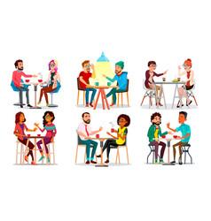 Friends in cafe man woman boyfriend vector