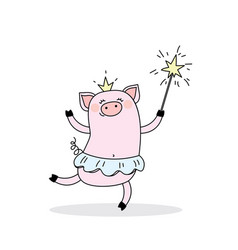 funny piggy princessjumping pig ballerina with a vector image