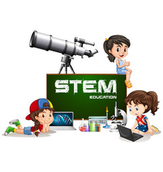 Girls and stem education on board vector