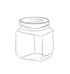 glass jar line vector image