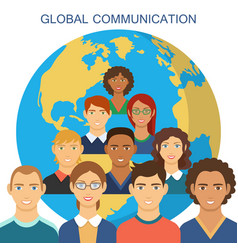 global communication flat design vector image