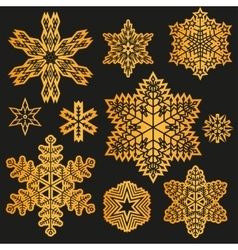 Gold Snowflake winter set vector image